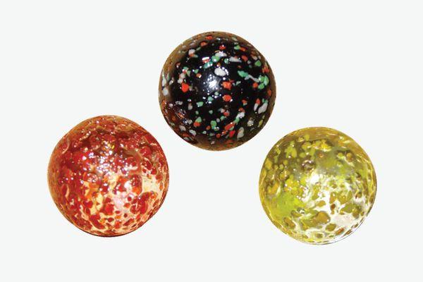 Confetti Glass Marble Lot – Blue, Yellow, Green, Orange-Red