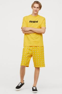 H&M Men's Patterned Sweatshorts, Pikachu