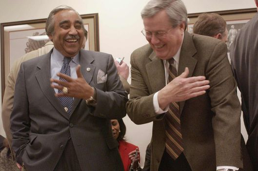 "3/9/04 PENSION FUNDING REQUIREMENTS REVISION--House Ways and Means ranking Democrat Charles B. Rangel, D-N.Y., and Ways and Means Chairman Bill Thomas, R-Calif., joke before the conference committee meeting on HR?3108, the ""Pension Funding Equity Act of 2003,"" which would makes changes in the benchmarks used to calculate pension plan funding requirements. CONGRESSIONAL QUARTERLY PHOTO BY SCOTT J. FERRELL"