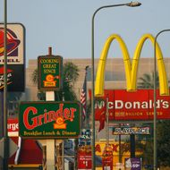 Fast-food restaurants thrive in one of the poorest areas of Los Angeles on July 24, 2008 in the South Los Angeles area of Los Angeles, California.