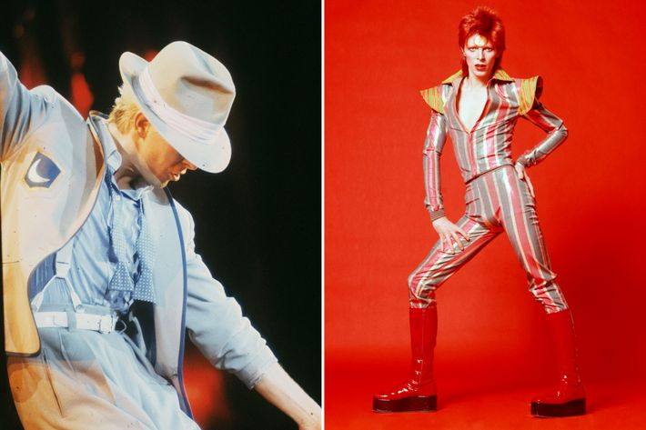 6dff86c51c3 From Left To Right David Bowie 1983. Print After A Self-portrait By David  Bowie 1978  Boots By Kansai Bodysuit By Freddie Burretti. Sc 1 St The Cut