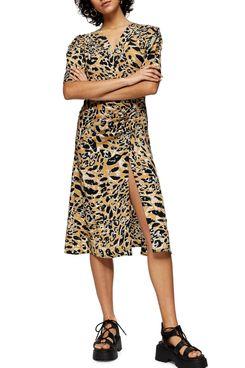 Topshop Leopard Print Mock Wrap Midi Dress