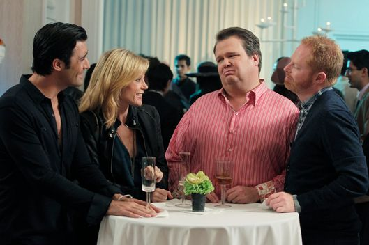 "MODERN FAMILY - ""Go Bullfrogs!"" - It's father-daughter time, as Phil takes Haley on a college tour of his old alma mater, and Claire, having a rare night alone, forces Mitchell and Cameron to take her for a fun night out with the boys -- but ends up alone with one particular man candy who is anything but gay. Meanwhile, Gloria and Jay deal with a potential situation at home that may require having ""the talk"" with Manny, on ""Modern Family,"" WEDNESDAY, OCTOBER 19 (9:00-9:31 p.m., ET), on the ABC Television Network.  (ABC/PETER ""HOPPER"" STONE) GILLES MARINI, JULIE BOWEN, ERIC STONESTREET, JESSE TYLER FERGUSON"