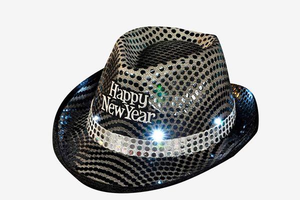 Rockymart Happy New Year Light up Sequin Fedora Hat