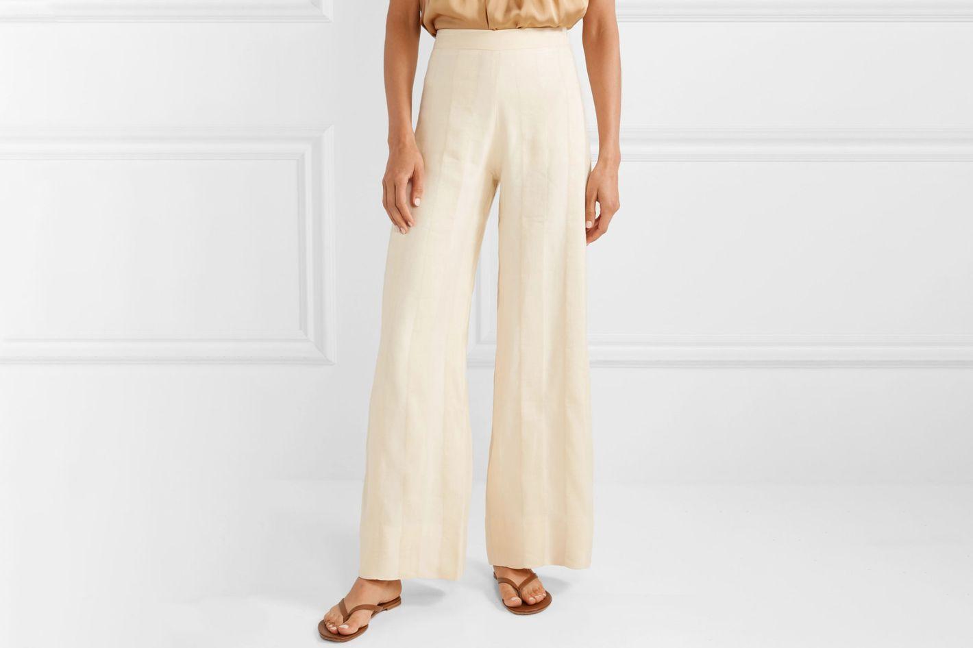 Arjé Striped Linen-blend Jacquard Wide Leg Pants