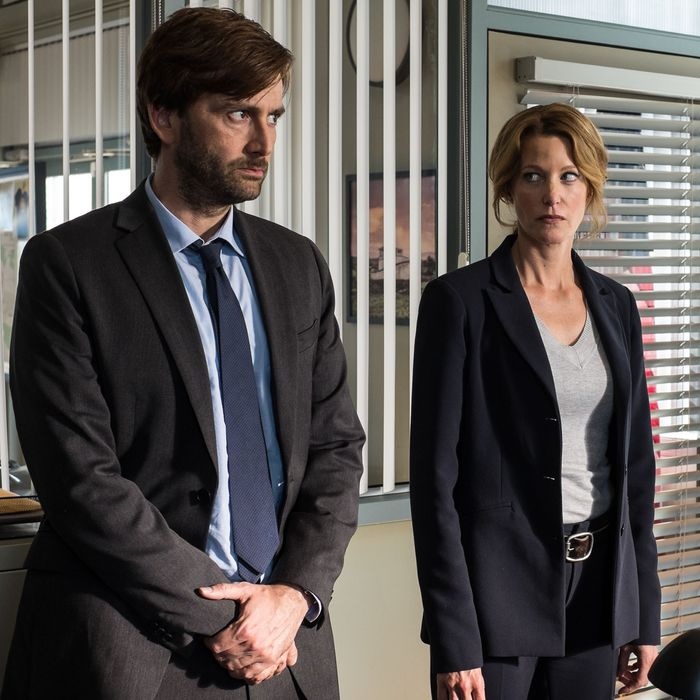 GRACEPOINT: Detectives Emmett Carver (David Tennant, L) and Ellie Miller (Anna Gunn, R) race against the clock to find out who killed Danny Solano in