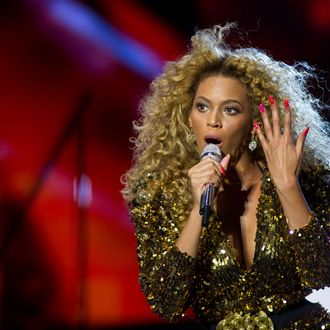 Beyonce performs live on the pyramid stage during the Glastonbury Festival at Worthy Farm, Pilton on June 26, 2011 in Glastonbury, England.