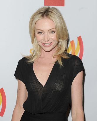 Actress Portia de Rossi poses backstage at the 23rd Annual GLAAD Media Awards