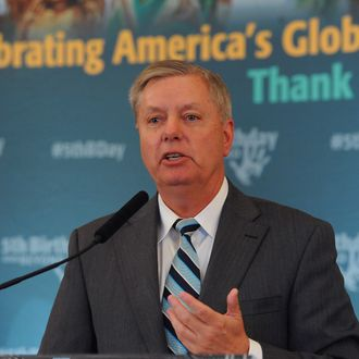 WASHINGTON, DC - JUNE 25: Senator Lindsey Graham (R-SC) speaks at the 5th Birthday And Beyond event at the Russell Senate Office Building on June 25, 2014 in Washington, DC. (Photo by Larry French/Getty Images)
