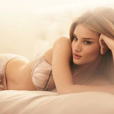 Rosie Huntington-Whiteley, modeling lingerie.
