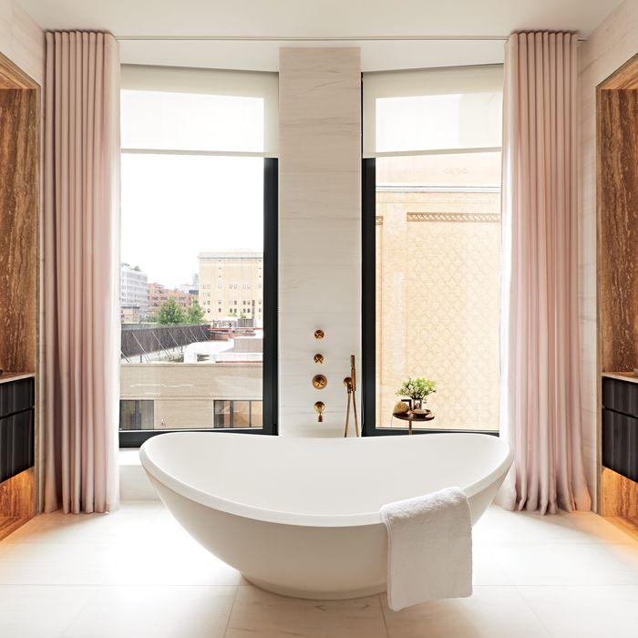 A bathroom in 505W19, a new building near the High Line.