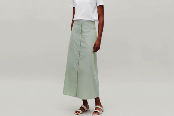 COS Long Button-Up Cotton Skirt in Mint