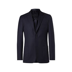 Navy Unstructured Worsted Wool Blazer