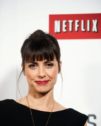 Constance Zimmer poses on the red carpet during the Netflix's
