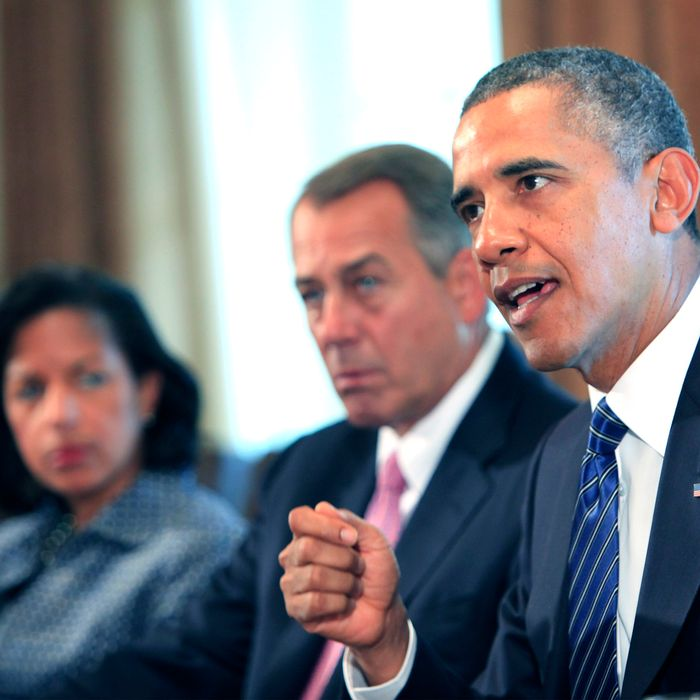 WASHINGTON, DC - SEPTEMBER 3: (AFP OUT) U.S. President Barack Obama (R) meets with members of Congress in the cabinet room of the White House on September 3, 2013 in Washington, DC. Obama is urging Congress to authorize military action against Syria, and says he is willing to work with lawmakers on the wording of a specific resolution. (Photo by Dennis Brack-Pool/Getty Images)
