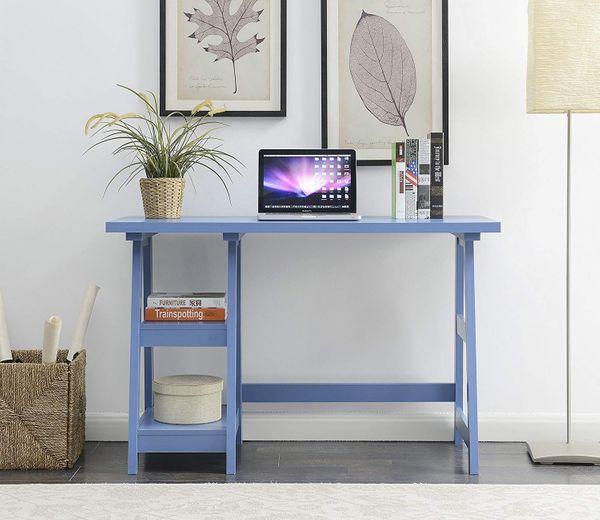Convenience Concepts Trestle Desk, Blue