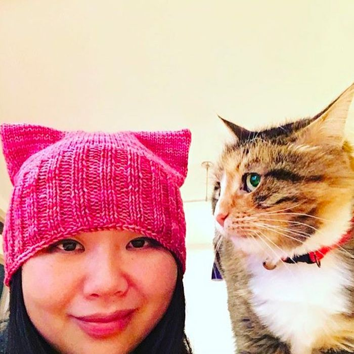 ecf024540d1 Thousands of women have downloaded the knitting pattern for this hat.  Photo   p ssyhatproject Instagram