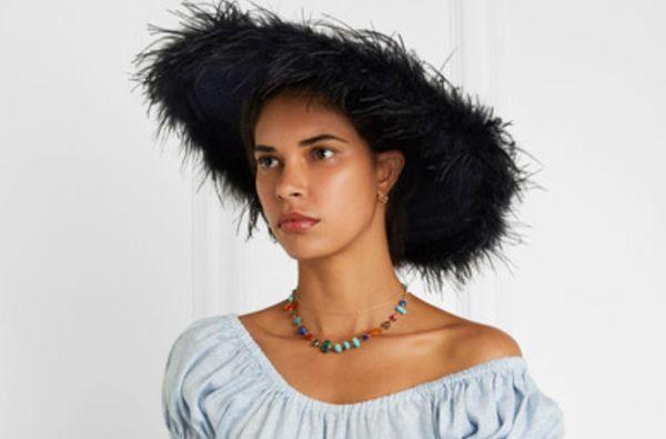 Gigi Burris Capri Feather-trimmed Straw Sunhat