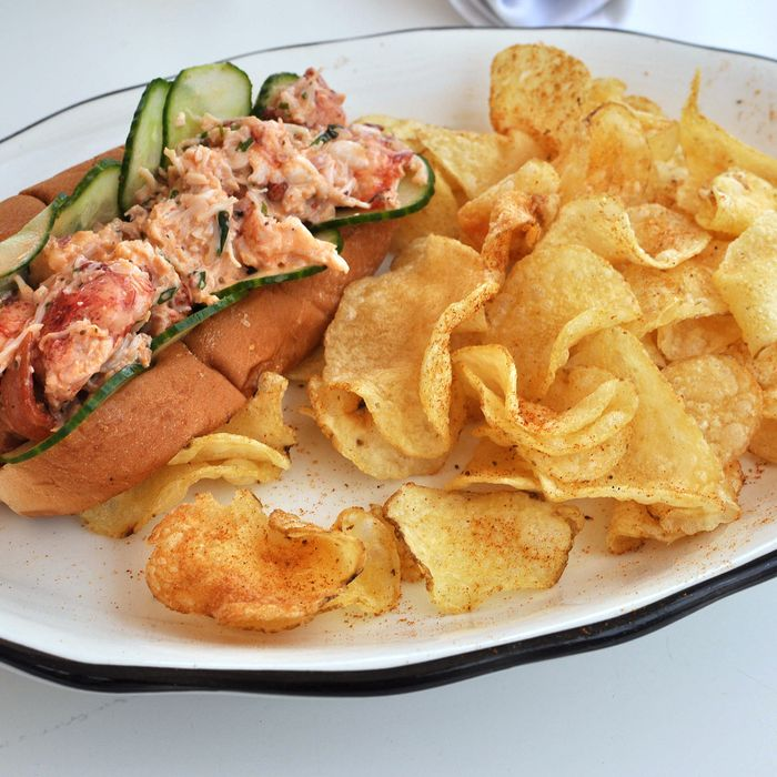 Chef James Kim just poaches raw Maine lobster with some salt and bay leaves.