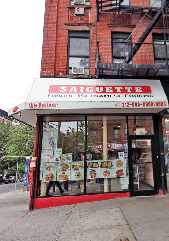 "37.  <b>Saiguette</b>  Saiguette's might be the biggest bánh mì you've ever seen. It takes two wooden skewers to hold one together. If the guy who stacks the pastrami between the rye at the Carnegie Deli ever saw a Saiguette bánh mì, he would say it's too much. And yet, unlike most supersize sandwiches, these substantial specimens are well balanced and carefully constructed. The best—and meatiest—of the lot is the ""grilled juicy boneless chicken thigh,"" and you can eat it at one of the window-ledge seats looking out onto the Columbus Avenue bike path, or take your lunch two blocks east for a Central Park picnic.  <i>935 Columbus Ave., at 106th St.; 212-866-6888</i>"