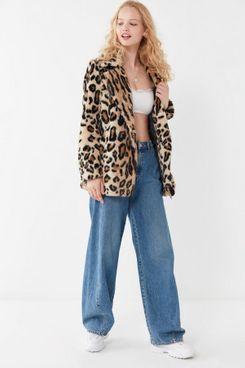 Apparis Violette Leopard Print Faux-Fur Coat