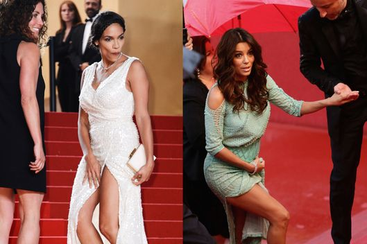 CANNES, FRANCE - Actresses Rosario Dawson and Eva Longoria