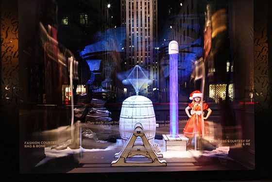Saks's windows are based on the children's book <i>Who Makes the Snow?</i> The story chronicles a little girl's search for where snow comes from.