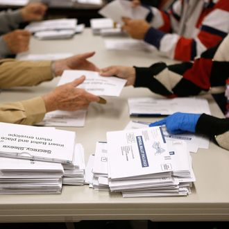 Election workers open mail-in ballots at the Boulder County Clerk and Recorder's Office on November 6, 2012 in Boulder, Colorado. Colorado is considered by most experts to be a key battleground state in this year's election.