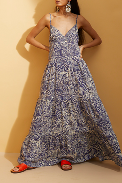 Hope for Flowers by Tracy Reese Navy Pointillist Swirl Tiered Maxi Slip