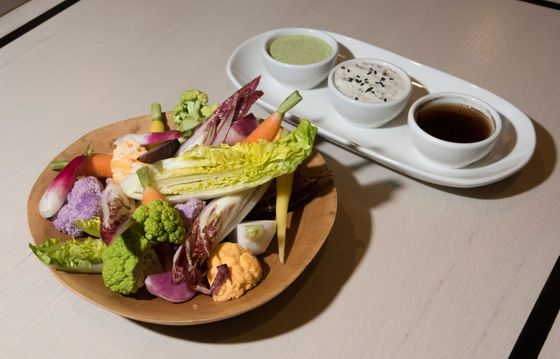 Market crudité with green goddess, smoked vinegar, and sesame ranch.