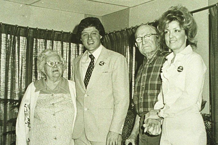 1978, Van Buren, Arkansas, Bill Clinton on a visit to Juanita Broaddrick's (right) nursing home