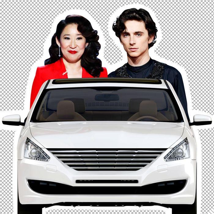 Sandra Oh, a car, Timothee Chalamet.