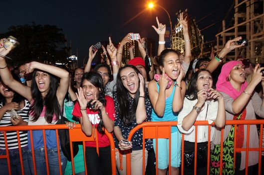 NEW YORK, NY - AUGUST 24:  The crowd watches the performances during the Z100 End Of Summer Concert at Luna Park on August 24, 2012 in the Brooklyn borough of New York City.  (Photo by Roger Kisby/Getty Images)