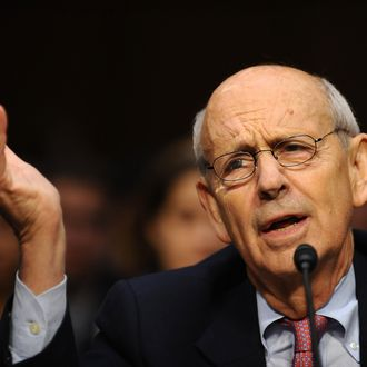 """US Supreme Court Justice Stephen Breyer speaks as he along with Justice Antonin Scalia testify before the Senate Judiciary Committee at a hearing entitled, """"Considering the Role of Judges Under the Constitution of the United States"""