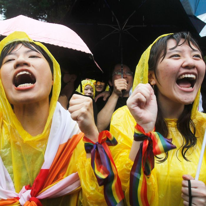People in Taiwan celebrate the legalization of same-sex marriage.