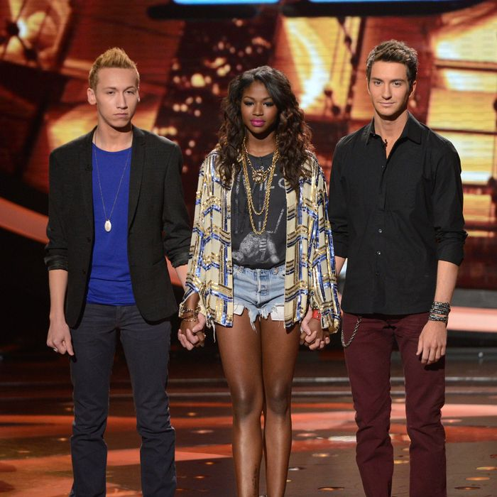 AMERICAN IDOL: The bottom three contestants wait to find out who will be eliminated on AMERICAN IDOL airing Thursday, March 21 (8:00-9:00 PM ET/PT) on FOX. L-R: Devin Velez, Amber Holcomb and Paul Jolley.
