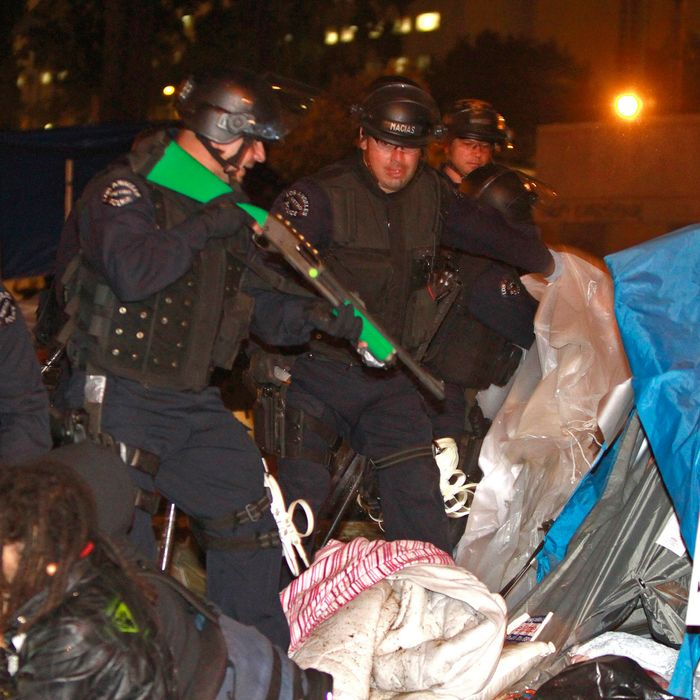 LOS ANGELES, CA - NOVEMBER 30: Members of Occupy Los Angeles protesters are arrested by armed Los Angeles Police Department officers after LAPD raided their protest campsite on November 30, 2011 in Los Angeles, California.Protesters remain on the City Hall lawn despite a deadline, set by Los Angeles Mayor Antonio Villaraigosa, to dismantle their campsite and leave the park which the city declared will be closed as of 12:01 am November 28th. (Photo by Mark Boster-Pool/Getty Images)