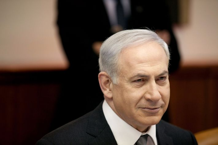 Israeli Prime Minister Benjamin Netanyahu heads the weekly cabinet meeting in his offices on March 18, 2012