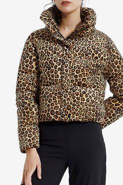 Orolay Women's Leopard Print Down Jacket Winter Coat Cropped Puffer Jacket
