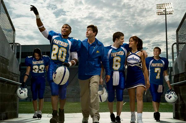 "FRIDAY NIGHT LIGHTS -- Pictured: (l-r) Taylor Kitsch as Tim Riggins, Gaius Charles as Brian ""Smash"" Williams, Kyle Chandler as Eric Taylor, Scott Porter as Jason Street, Minka Kelly as Lyla Garrity, Zach Gilford as Matt Saracen -- NBC Photo: Michael Muller"