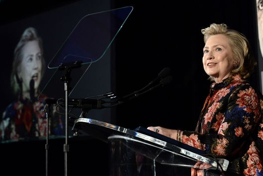 NEW YORK, NY - DECEMBER 03:  Hillary Clinton onstage at the Women for Women 20th Anniversary Gala celebration at the American Museum of Natural History on December 3, 2013 in New York City.  (Photo by Shahar Azran/Getty Images)