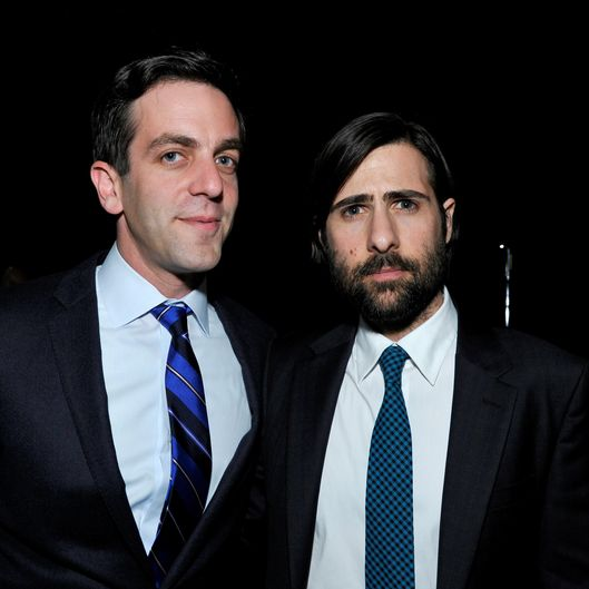 SANTA MONICA, CA - JANUARY 16:  Actor/writer B.J. Novak (L) and actor Jason Schwartzman attend the 19th Annual Critics' Choice Movie Awards at Barker Hangar on January 16, 2014 in Santa Monica, California.  (Photo by John Sciulli/Getty Images)