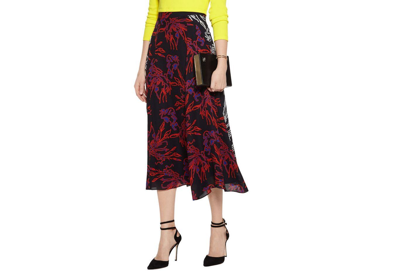 Tanya Taylor Jackson printed silk midi skirt