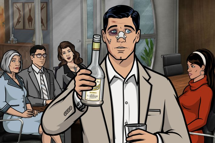 "ARCHER -- ""The Handoff"" -- Episode 702 (Airs Thursday, April 7, 10:00pm e/p) Pictured: (l-r) Malory Archer (voice of Jessica Walter), Cyril Figgis (voice of Chris Parnell), Real Veronica K. Deane (voice of Mary McDonald-Lewis), Sterling Archer (voice of H. Jon Benjamin), Lana Kane (voice of Aisha Tyler). CR: FX"