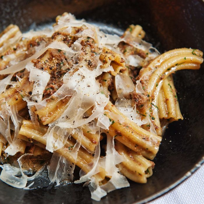 Upland's Estrella pasta, with chicken liver, sherry, rosemary, and sage.