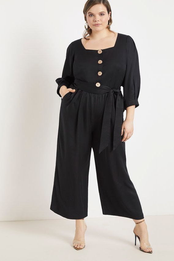 Eloquii Cropped Jumpsuit with Button Front