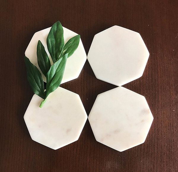 Midwest Exporters White Marble Octagonal Stone Coasters