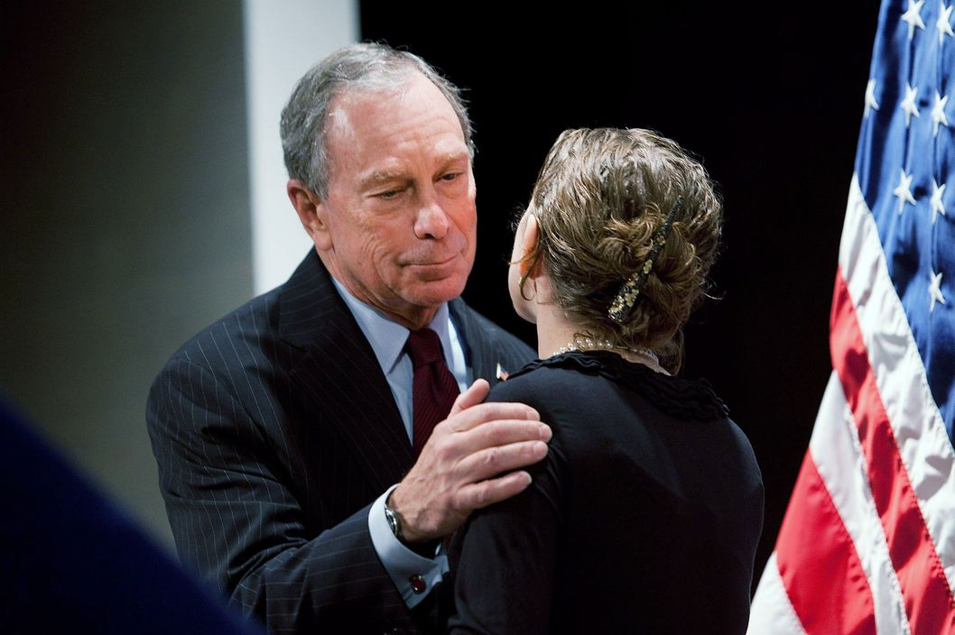 New York City Mayor Michael Bloomberg (L) embraces Rachel Tiven, executive director of Immigration Equality and his niece, after Tiven introduced him at Cooper Union College on May 26, 2011 in New York City. Bloomberg gave a speech calling on lawmakers to pass a bill allowing same-sex marriage.