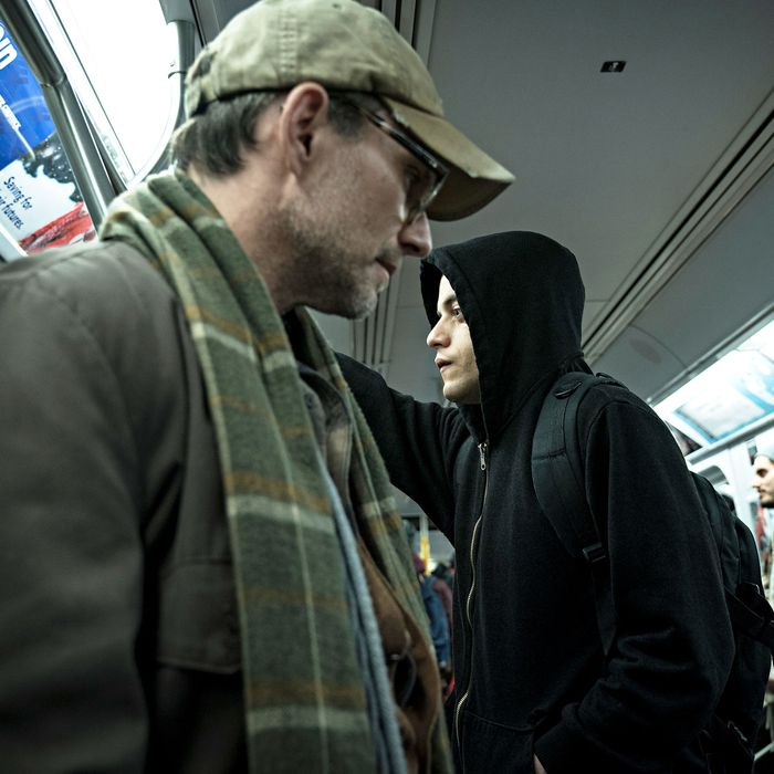 Christian Slater and Rami Malek in Mr. Robot.
