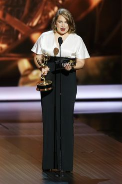 LOS ANGELES, CA - SEPTEMBER 22:  Winner for Best Supporting Actress in a Comedy Series Merritt Wever speaks onstage during the 65th Annual Primetime Emmy Awards held at Nokia Theatre L.A. Live on September 22, 2013 in Los Angeles, California.  (Photo by Michael Tran/FilmMagic)